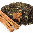 Herbal tea with cinnamon isolated - Stock Photo