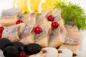 Testy cut herring with vegetable — Стоковое фото