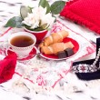 Royalty-Free Stock Photo: Breakfast with gifts and rose