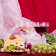 Composition with wine, grape and chees — Stock Photo