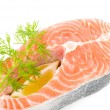 Stock Photo: Piece of salmon with lemon and dill