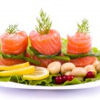 Stock Photo: Tasty salmon rolls