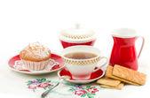 美丽茶具与蛋糕 — 图库照片