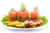 Tasty salmon rolls — Stock Photo