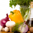 Stock Photo: Olive oil and vegetables