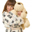 Beautiful young girl with toy dog isolated — Stock Photo #9300614