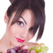 Beautiful young woman with grape — Stock Photo #9352969