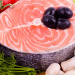 Piece of a salmon with vegetable — Stock Photo