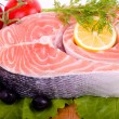 Piece of a salmon with vegetable — Foto de Stock