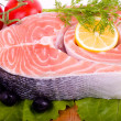 Piece of a salmon with vegetable — Stok fotoğraf