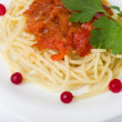 Stock Photo: Tasty spaghetti with tomatoes and vegetable