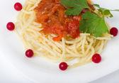Smaczne spaghetti z pomidorami i warzyw — Zdjęcie stockowe