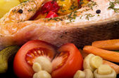 Fried salmon with grilled vegetable — Stock Photo