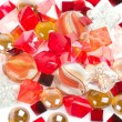Beautiful bright colorful stones and pearl - Stock Photo