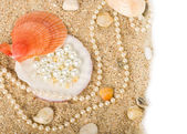 Beautiful exotic shell and stones, pearls on sand — Stock Photo