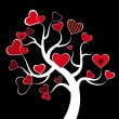 Valentine love tree leaf from hearts. Vector — Image vectorielle