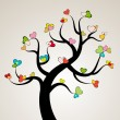 Valentine love tree leaf from hearts. Vector — Imagen vectorial