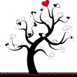 Valentine love tree leaf from hearts. Vector — Vettoriali Stock