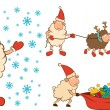 Christmas funny sheep with gifts. Vector set - ベクター素材ストック