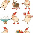 Christmas funny sheep with gifts. Vector set — Stock Vector