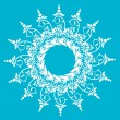 Beautiful snowflake with ornament. Vector — Stok Vektör