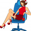 Beautiful business woman in Santa Claus clothes sits in a chair in office. Vector — Stock Vector