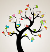 Valentine love tree leaf from hearts. Vector — Vector de stock