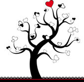 Valentine love tree leaf from hearts. Vector — Stock Vector