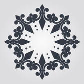 Beautiful snowflake with ornament. Vector — Stock Vector