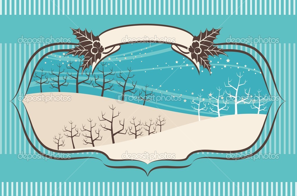 Beautiful Christmas background with trees.Vector illustration  Stock Vector #9443633