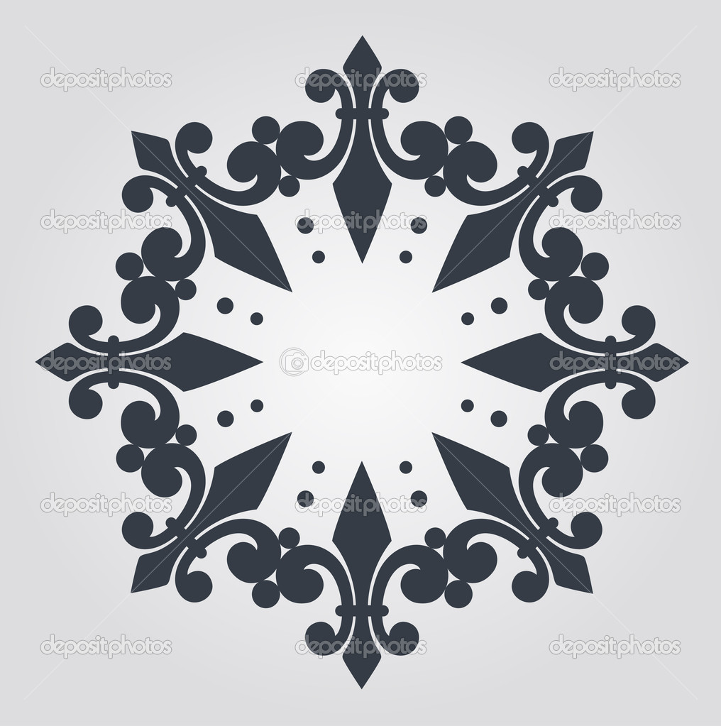 Beautiful snowflake with ornament. Vector  Stok Vektr #9443792