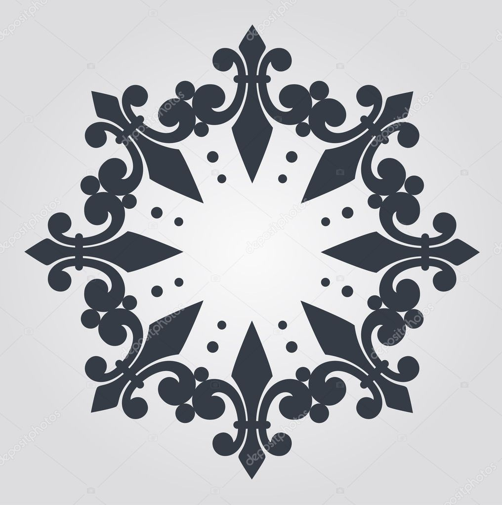 Beautiful snowflake with ornament. Vector — ベクター素材ストック #9443792