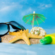 Stock Photo: Shell, glasses, starfish and sun lotion on sand