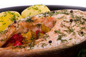 Fried salmon with grilled vegetable and boiled potato — Stock Photo