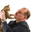 Old man with his cat on white background — Foto de Stock