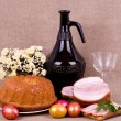 Royalty-Free Stock Photo: Traditional Easter cake and pork loin dish with easter eggs
