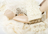 The beautiful bridal accessories and shoes — Stock Photo