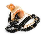 Bella esotica shell e perle perline su sfondo bianco. — Foto Stock