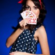Beautiful young woman with Playing cards — Stock Photo