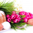 Traditional Easter cake with Easter eggs and spring flowers — Stock Photo #9832857