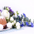 Traditional Easter cake with Easter eggs and spring flowers — Stock Photo #9833021