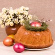 Stock Photo: Traditional Easter cake with eggs