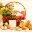 Basket with Easter eggs and spring flowers — Stock Photo #9891203
