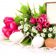 Easter eggs and spring flowers with banner add — Stock Photo