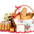 Royalty-Free Stock Photo: Large variety of bread with banner add