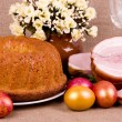 Stock Photo: Traditional Easter cake with meat and eggs