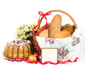 Large variety of bread with banner add — Stock Photo