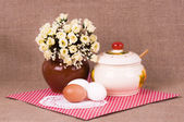 Still life with eggs and fowers — Stock Photo