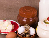 Dairy food and eggs — Stock Photo