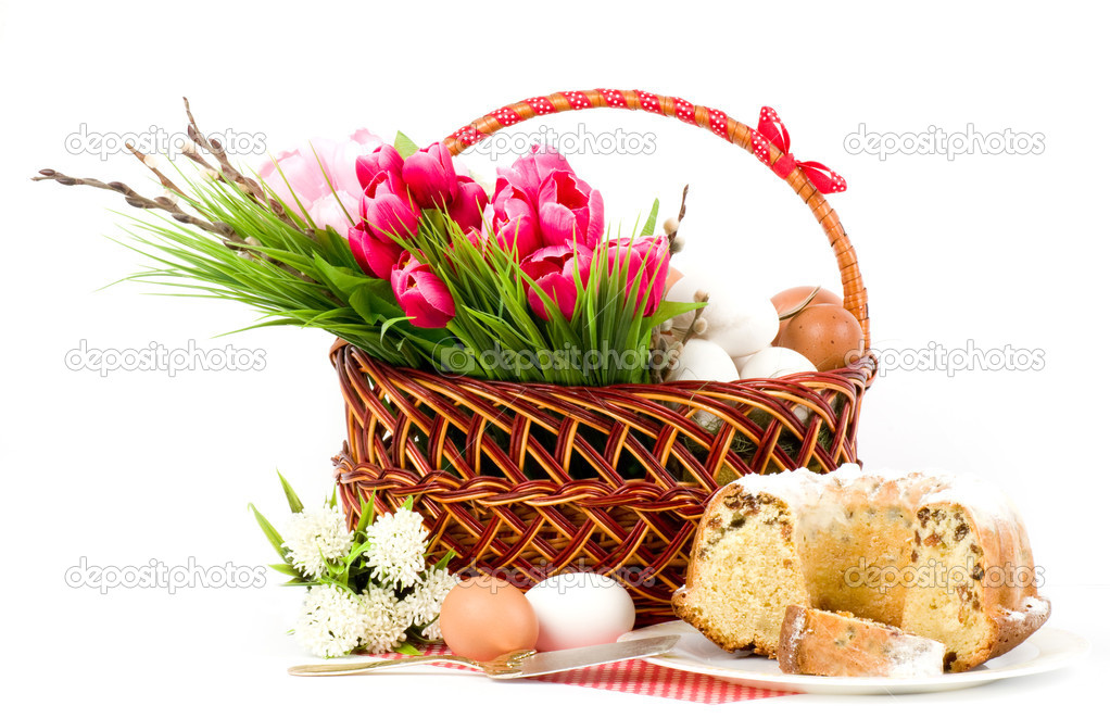 Traditional Easter cake with Easter eggs and spring flowers  Stock Photo #9891171